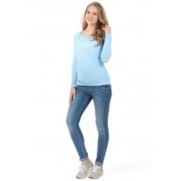 Лонгслив для беременных и кормящих голубой