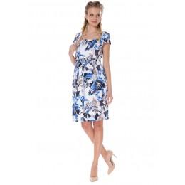 """Платье """"Психея"""" белое с голубыми цветами для беременных и кормящих"""
