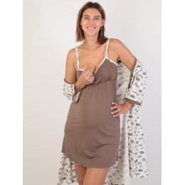 Комплект для беременных и кормящих халат и сорочка, молоко