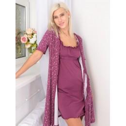 Комплект для беременных и кормящих: халат и сорочка, лиловый
