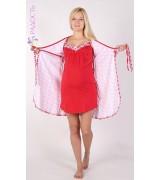Комплект для беременных и кормящих - сорочка и халат с коротким рукавом