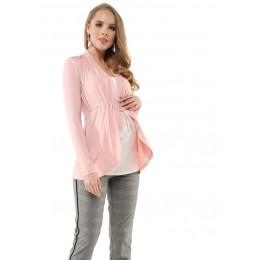 """Блуза """"Лира"""" для беременных и кормящих; цвет: пудровый/белый"""